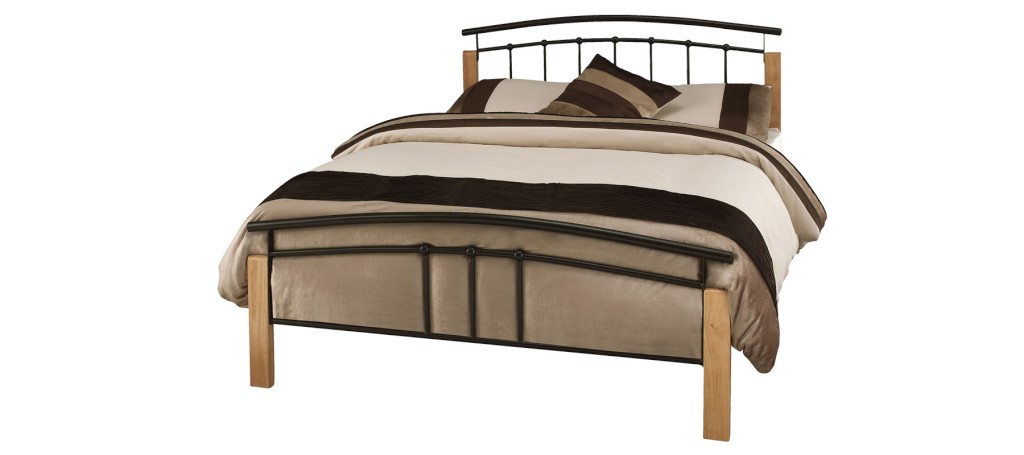 Serene Tetras Black and Beech Metal Bed Frame £109