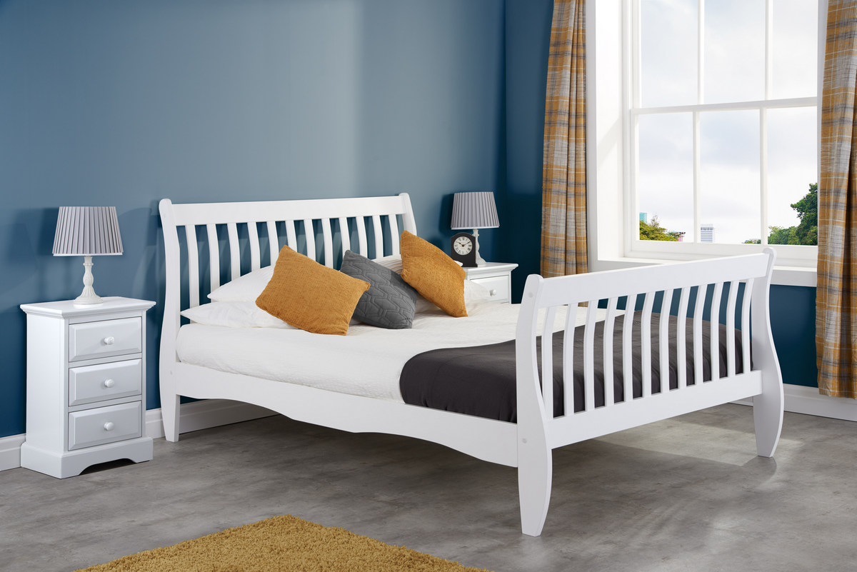 Belford Wooden Sleigh Bed Frame in White from £155