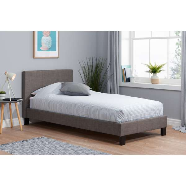 Birlea Berlin 3ft Single Fabric Bed Frame in Grey £119