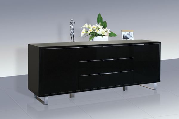 Accent Black High Gloss Sideboard With 2 Doors and 3 Drawers