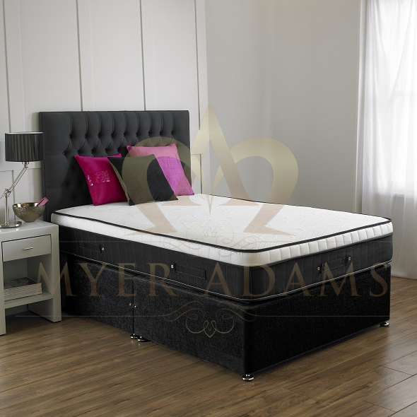 MYER ADAMS Black Pearl 3ft Single 1000 Pocket Memory Foam Divan Set