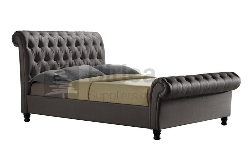Birlea Castello Grey Upholstered Fabric Bed Frame In Double King And Super King Sizes From 163 429 Beds Direct Warehouse Gainsborough Lincolnshire