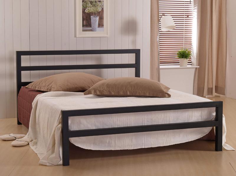 Time Living City Block Metal Bed Frame, Wood And Black Metal Bedroom Furniture
