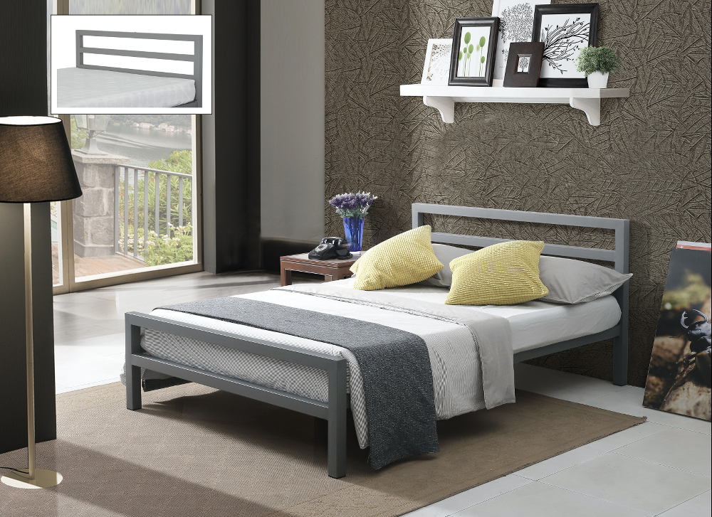 Time Living City Block Metal Bed Frame in Grey from £119
