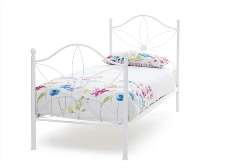 Serene Daisy 3ft Single Wite Metal Bed and Mattress Bundle from £129