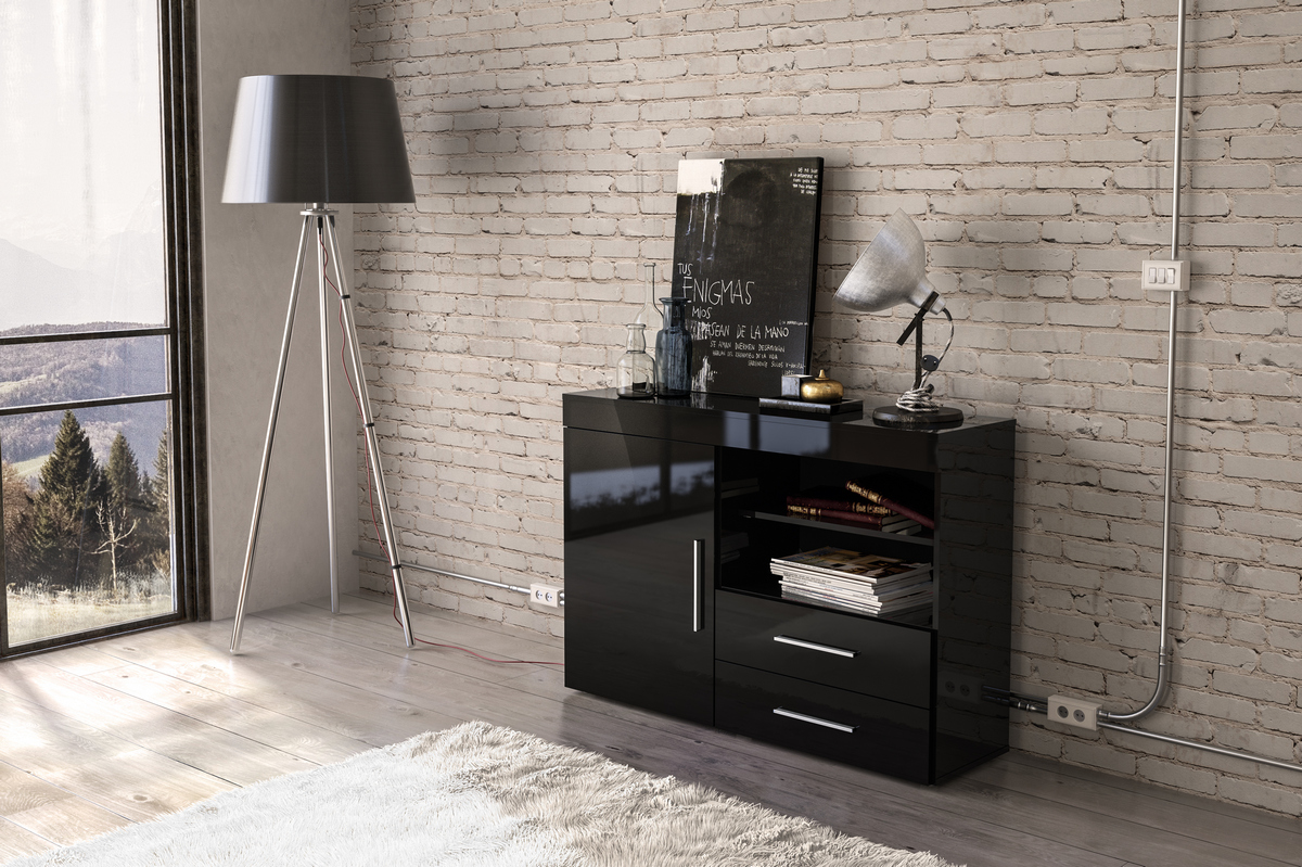 Edgeware 1 Door 2 Drawer Sideboard in Black £119
