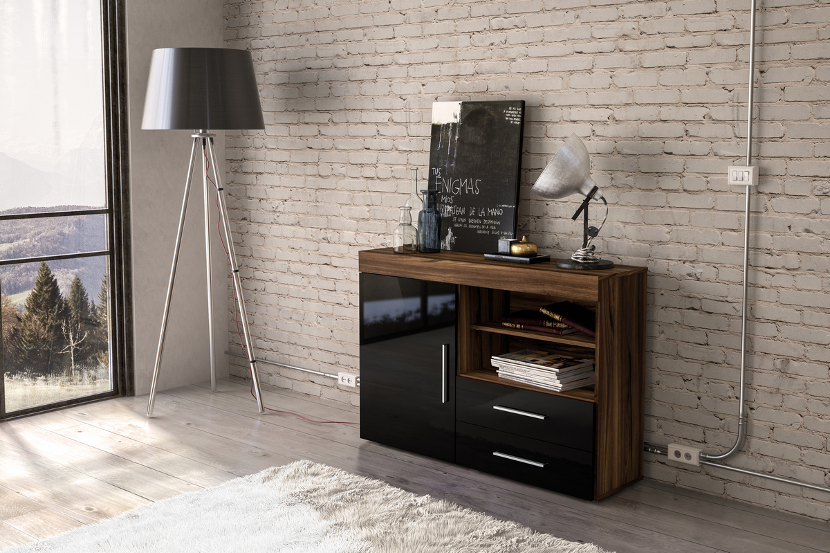 Edgeware 1 Door 2 Drawer Sideboard in Walnut and Black £119
