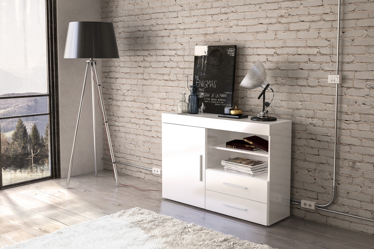 Edgeware 1 Door 2 Drawer Sideboard in White £119