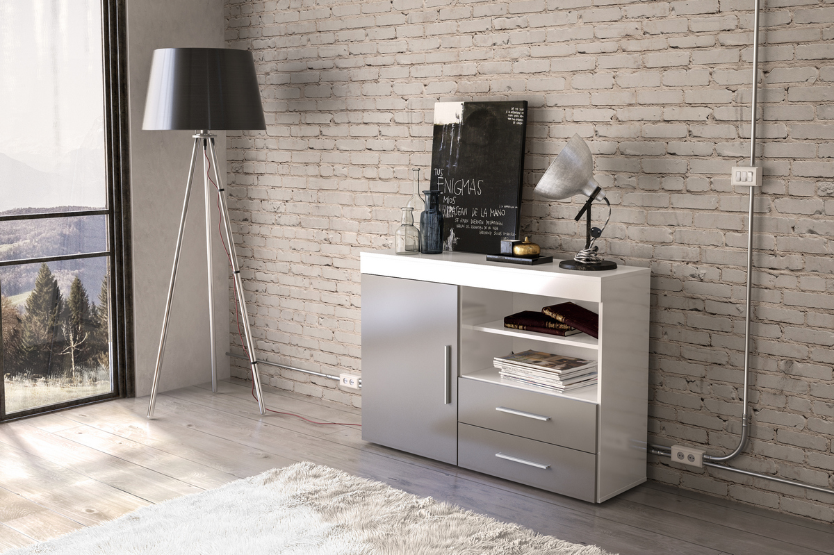 Edgeware 1 Door 2 Drawer Sideboard in White and Grey £119
