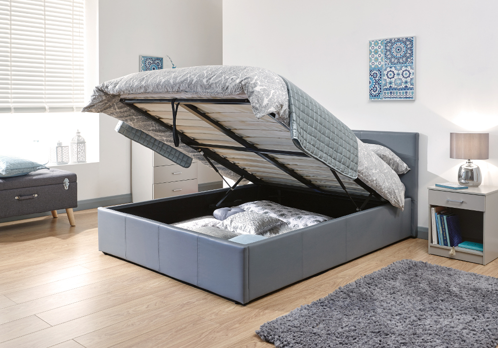 End Lift Ottoman Gas Lift Storage Bedstead in grey Faux Leather from £149