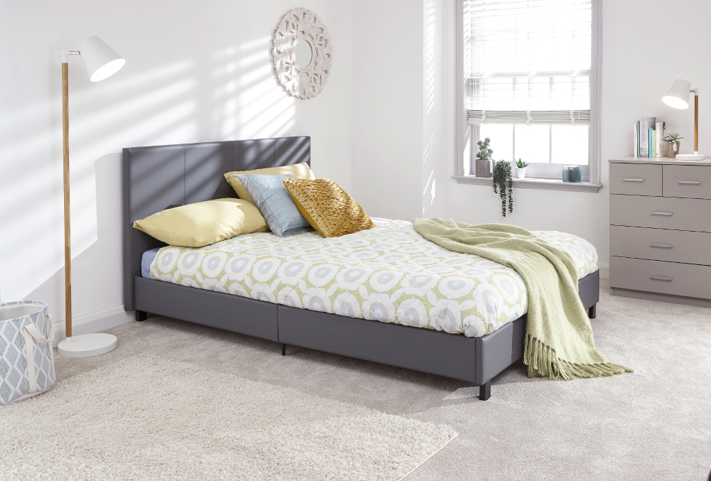 Faux Leather upholstered bed frame in Gey £94.99