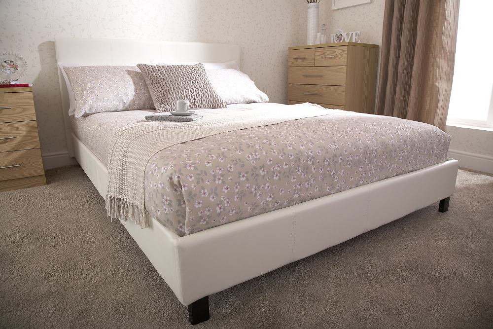 Bed in a Box Faux Leather Frame in White from £94.99