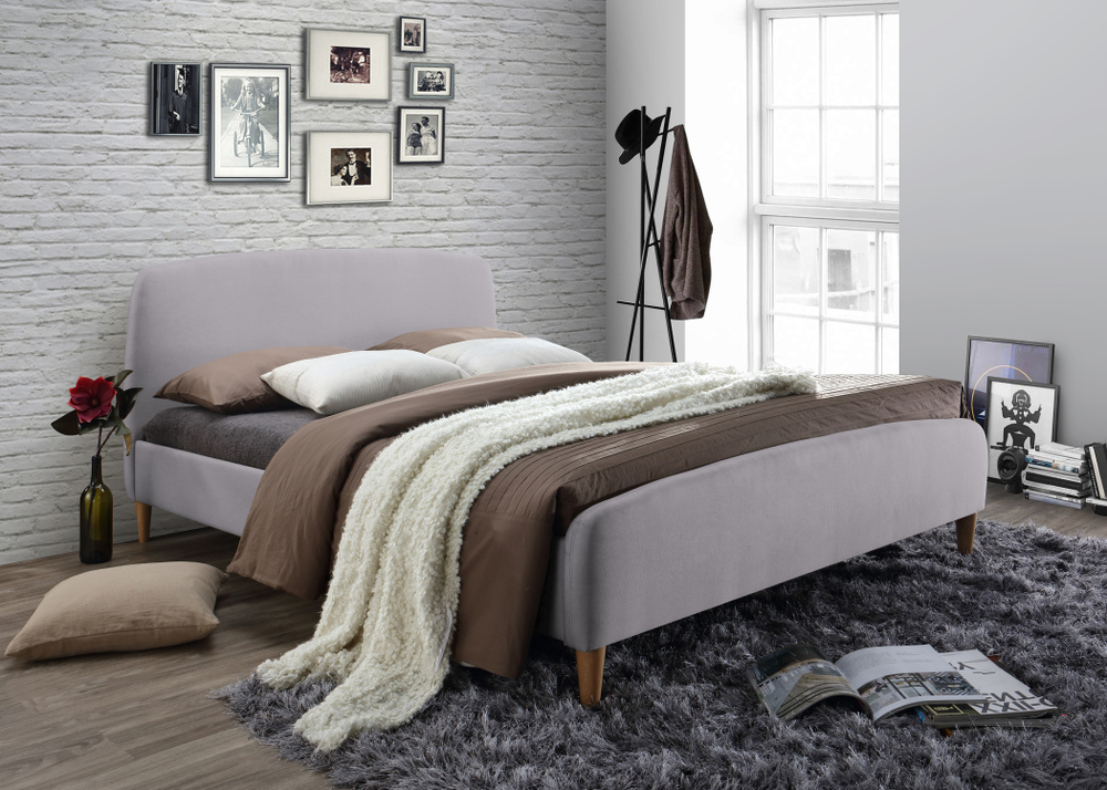 Geneva Light Grey Upholstered Bed Frame from £229
