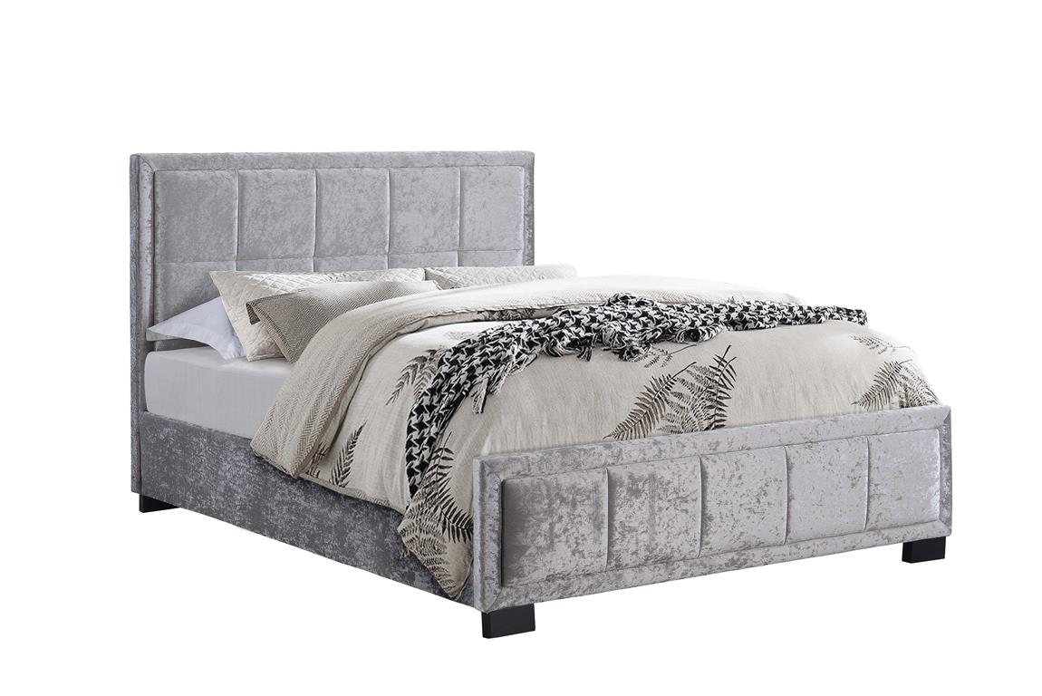Hannover Silver Crushed Velvet Fabric Bed £249