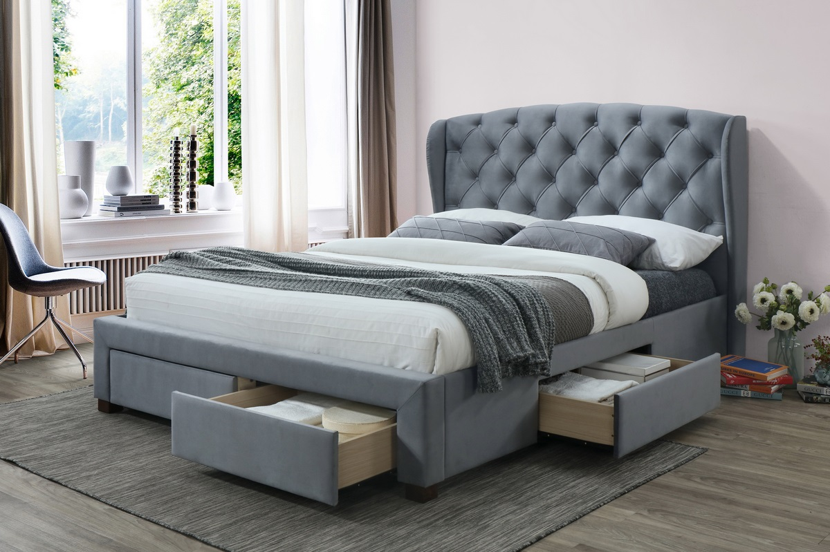 Birlea Hope Grey Velvet Fabric Storage Bed Frame from £449
