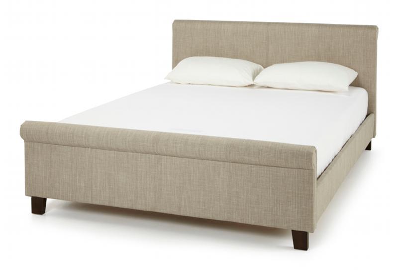 SERENE FURNISHINGS Hazel Fabric Upholstered Bed Frame in Linen Brown ...