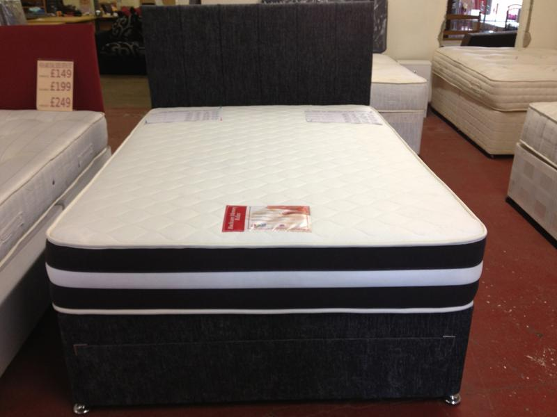 3D Memory Foam Double Divan Set with Matching Headboard in Charcoal or Black