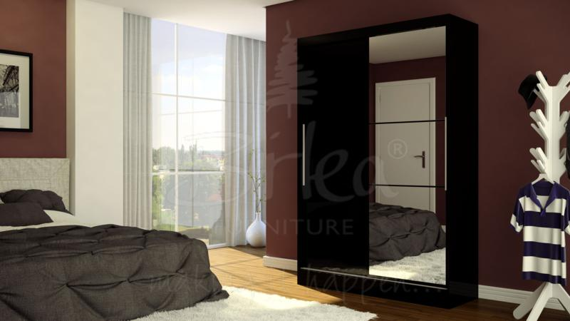 LYNX 2 DOOR SLIDING ROBE WITH MIRROR IN BLACK HIGH GLOSS