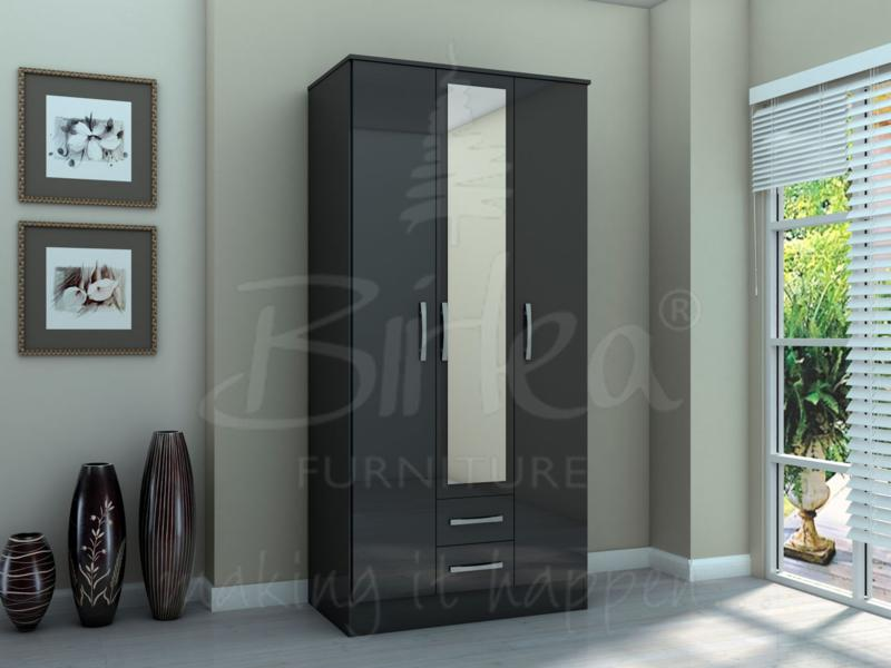 LYNX 3 DOOR 2 DRAWER ROBE WITH MIRROR BLACK BY BIRLEA