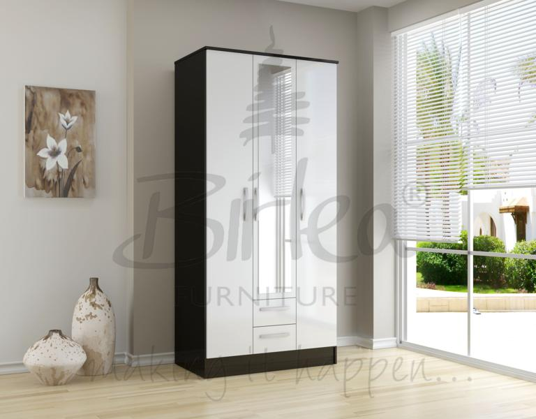 BIRLEA Lynx Black and white High Gloss 3 door 2 drawer wardrobe with mirror