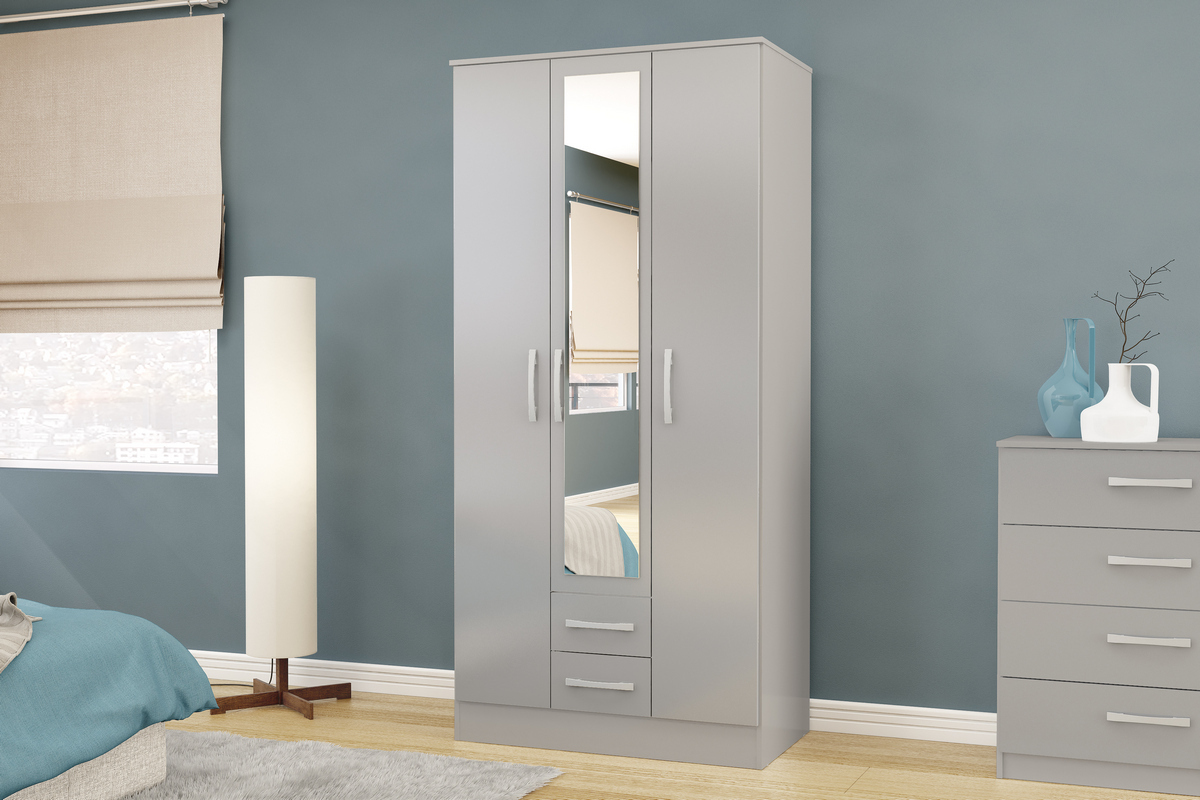 Lynx 3 Door 2 Drawer Grey High Gloss Robe with Mirror £239