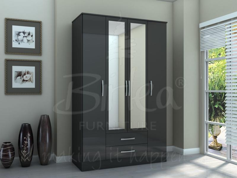 LYNX 4 DOOR 2 DRAWER WITH MIRROR BLACK GLOSS BY BIRLEA