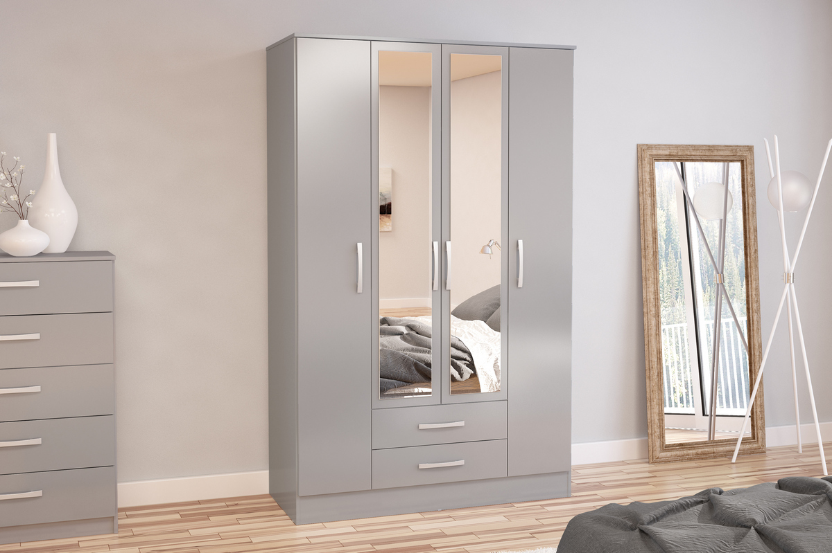 Lynx 4 Door 2 Drawer Robe with Mirror in Grey High Gloss £299
