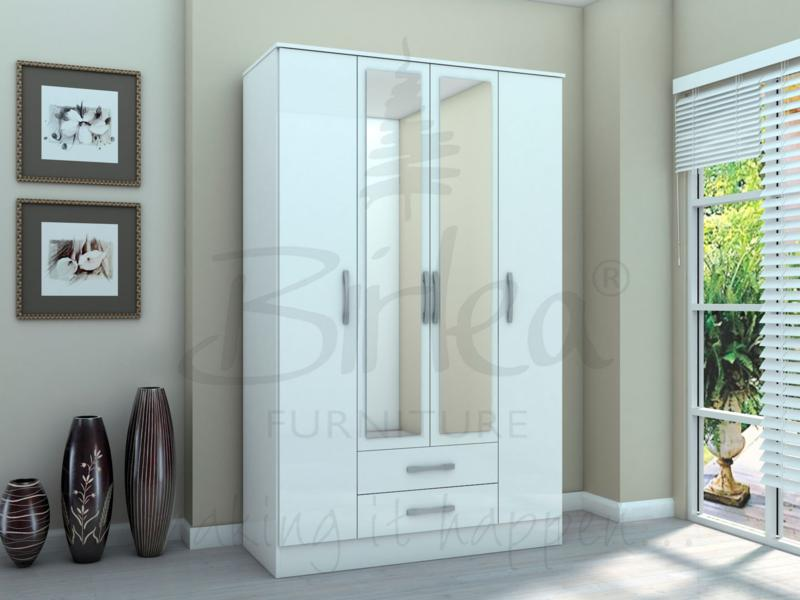 BIRLEA LYNX 4 DOOR 2 DRAWER WITH MIRROR WHITE GLOSS £349