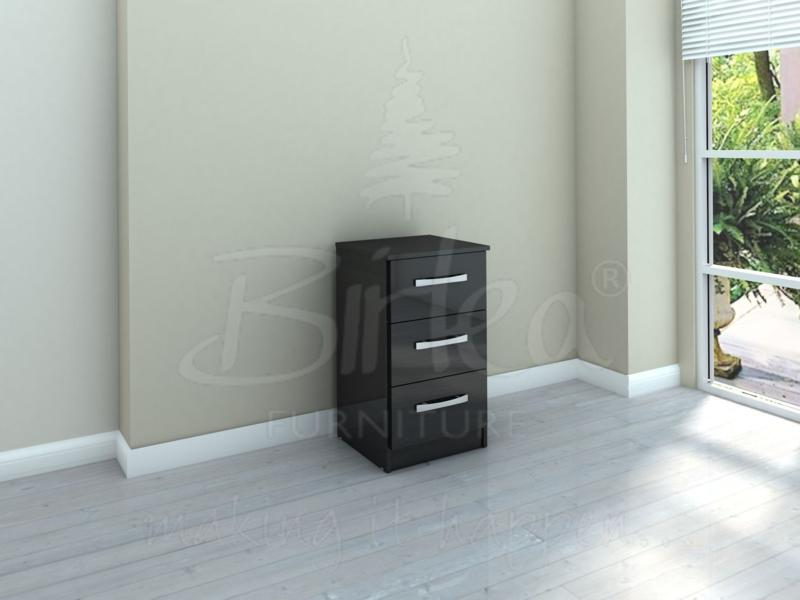 LYNX 3 DRAWER BEDSIDE IN BLACK HIGH GLOSS BY BIRLEA