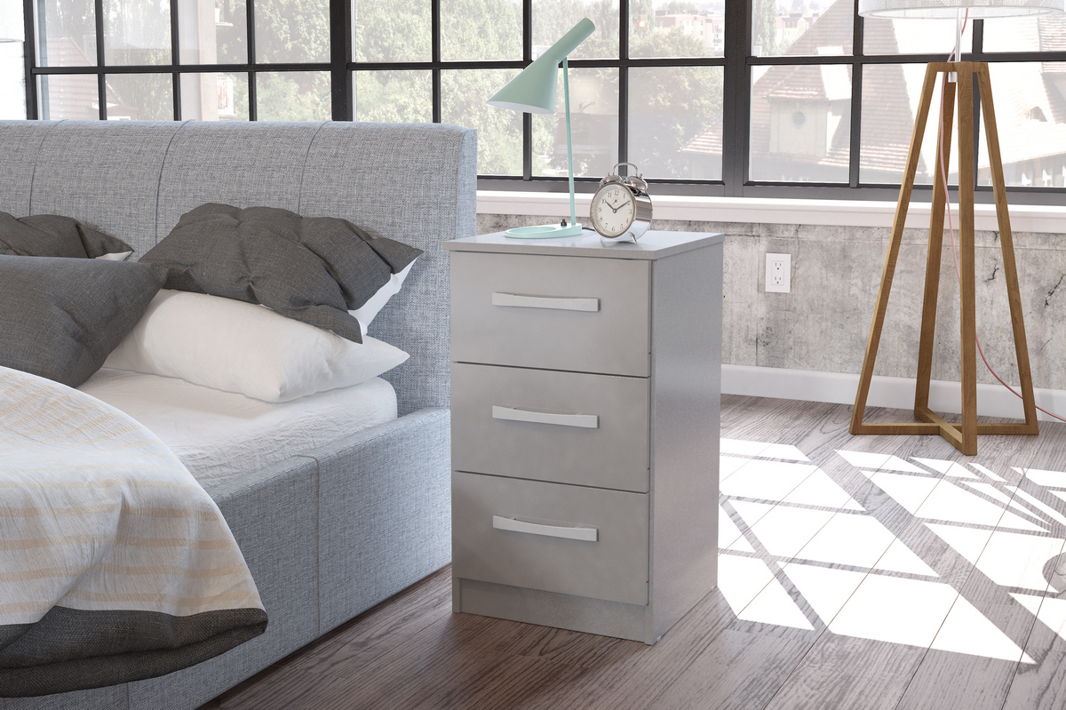 Lynx 3 Drawer Grey High Gloss Bedside Cabinet £68