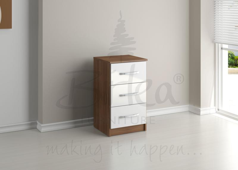 BIRLEA LYNX 3 DRW BEDSIDE WALNUT & WHITE HIGH GLOSS £68