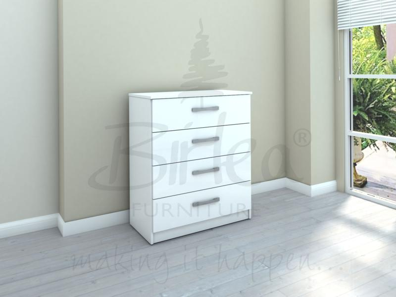 BIRLEA LYNX 4 DRAWER CHEST IN HIGH WHITE GLOSS £119