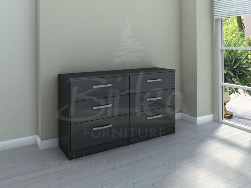 LYNX 6 DRAWER CHEST IN BLACK HIGH GLOSS BY BIRLEA £184.99