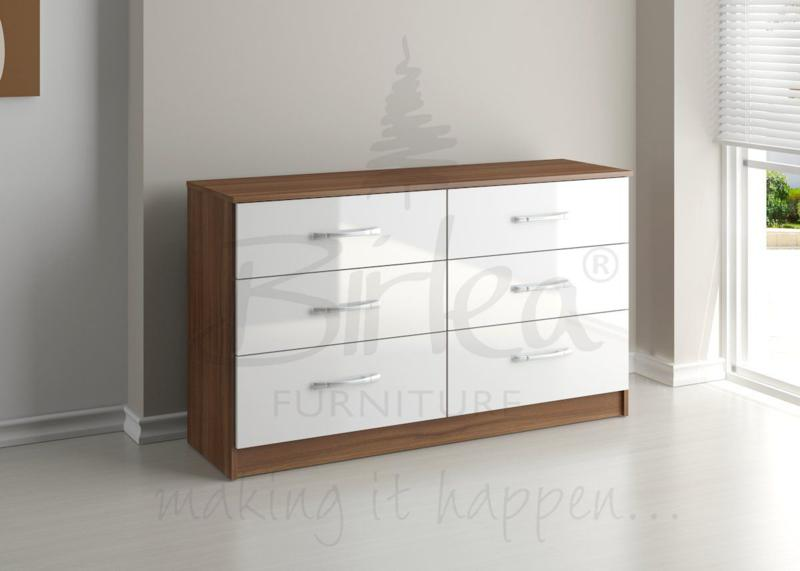 BIRLEA LYNX 6 DRAWER CHEST WALNUT & WHITE HIGH GLOSS