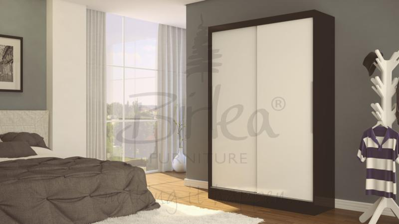 BIRLEA LYNX 2 DOOR SLIDING ROBE IN BLACK AND WHITE HIGH GLOSS