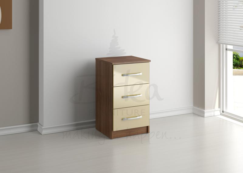 BIRLEA LYNX 3 DRW BEDSIDE WALNUT & CREAM HIGH GLOSS £68