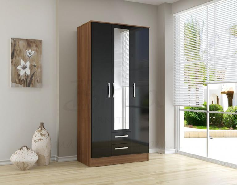 BIRLEA Lynx Black high gloss and walnut 3 door 2 drawer wardrobe