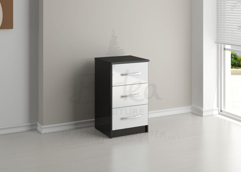 BIRLEA Lynx Black and White High Gloss 3 Drawer Bedside