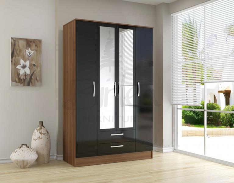 BIRLEA Lynx Black high gloss and walnut 4 door 2 drawer wardrobe