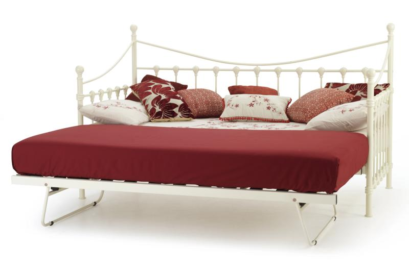 Serene Marseilles Ivory Metal Frame Day Bed with guest bed