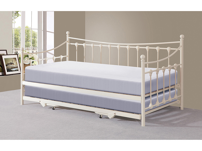 GFW MEMPHIS Ivory Metal Day Bed with Trundle from £119