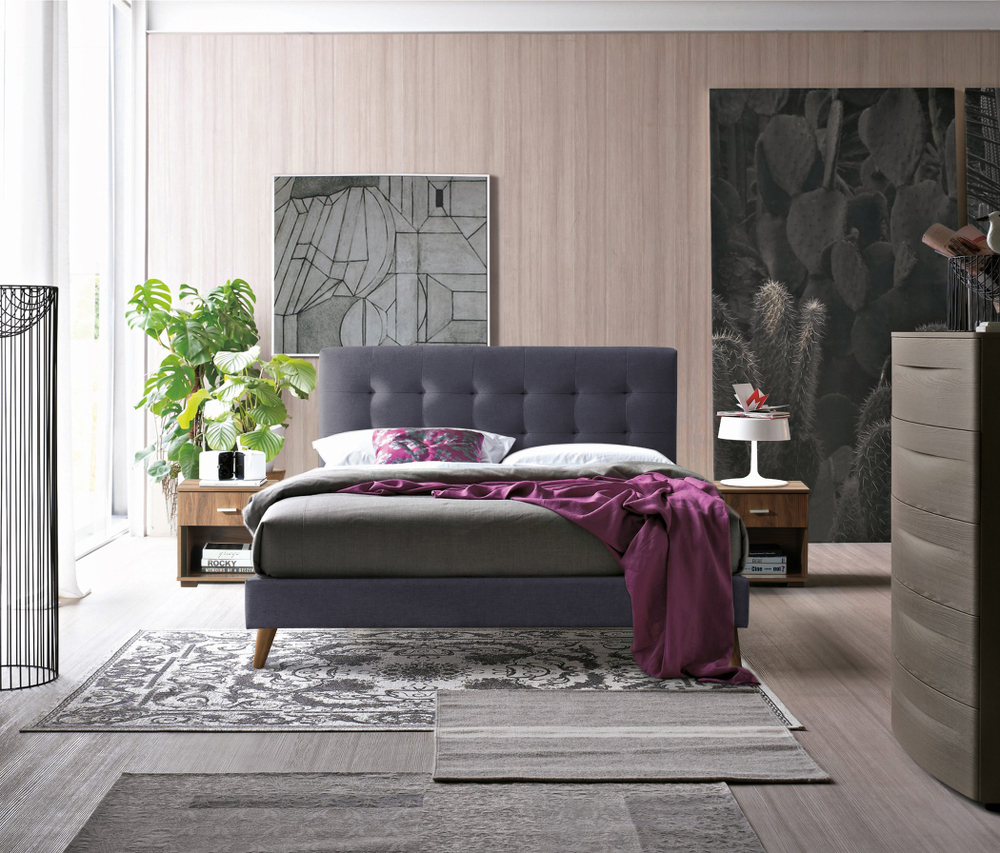 Novara Grey Upholstered Bed Frame from £239