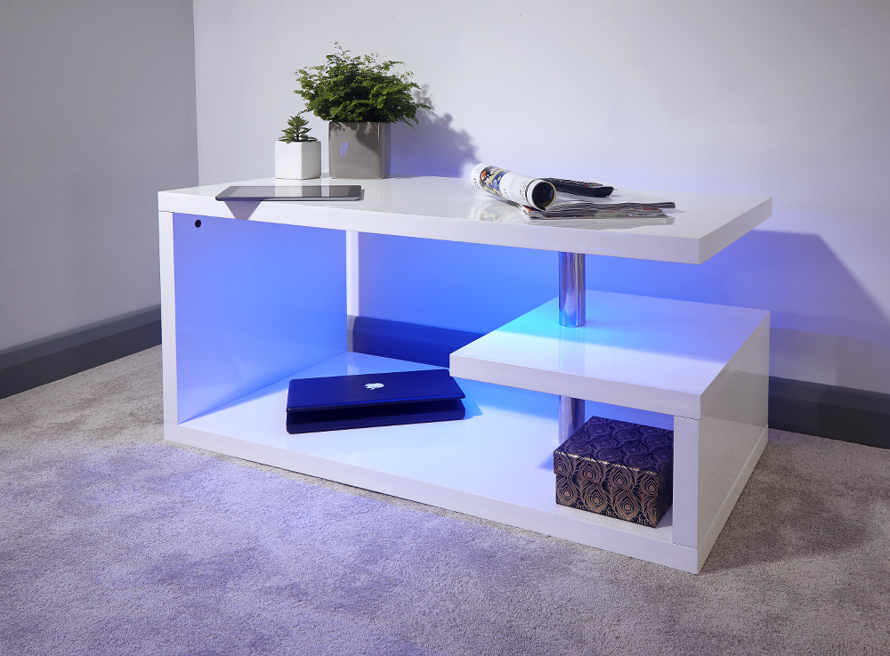 Polar White High Gloss LED Coffee Table £119