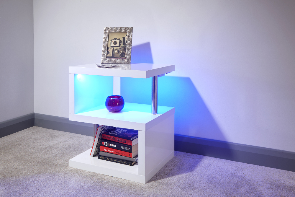 Polar White High Gloss Lamp Table with LED £69