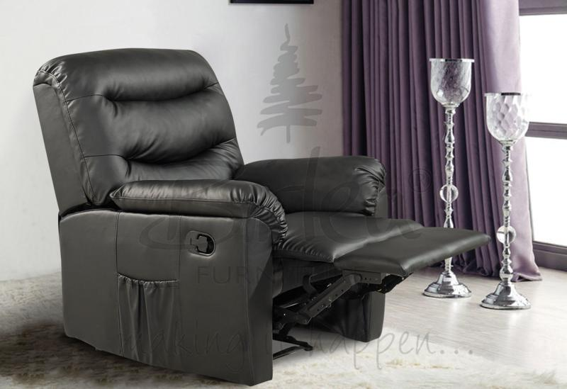 BIRLEA Regency Black Recliner Chair