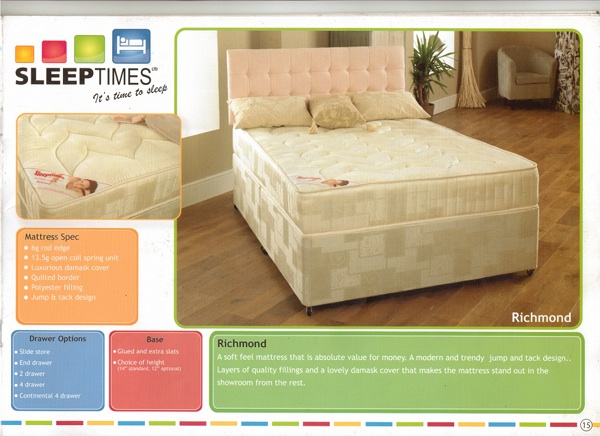 SLEEPTIMES Richmond Deep Quilt Divan Bed FROM £139