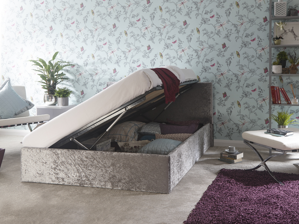GFW 4ft Small Double Siver Crushed Velvet Ottoman Storage Bed With Mattress Options from £219