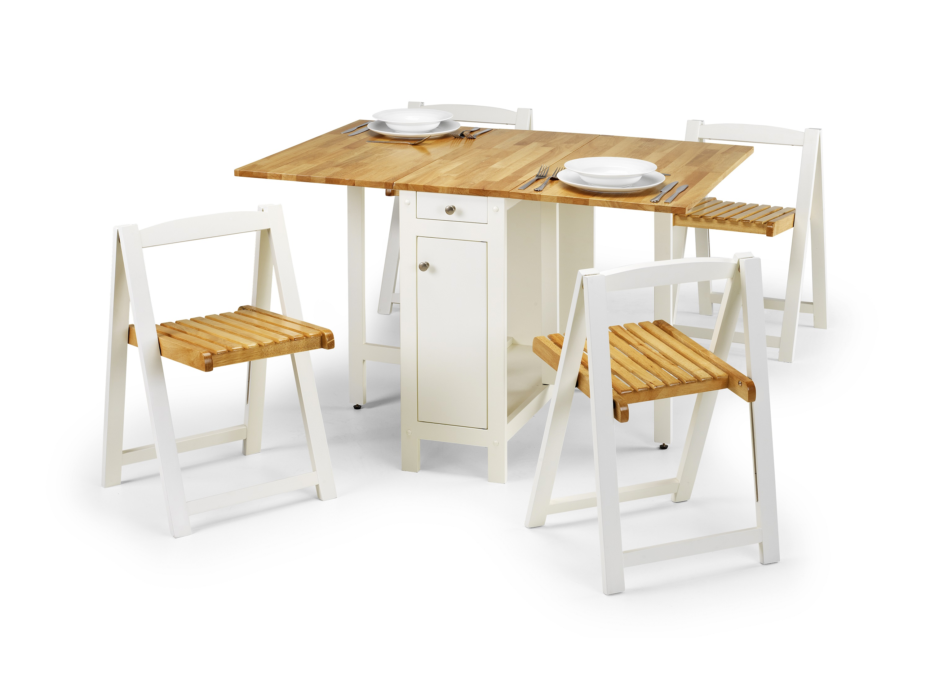 Julian Bowen Savoy Dining Set in White and Natural Finish £189