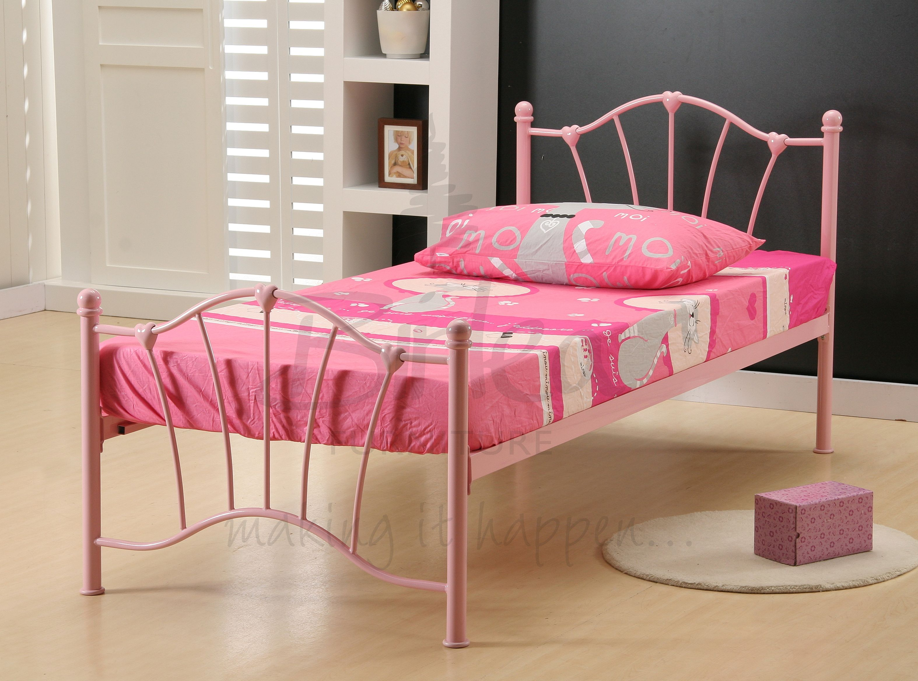 BIRLEA Sophia Pink 3ft Single  Metal Bed Frame £79