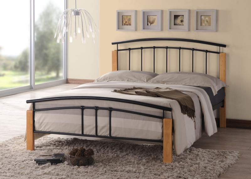Tetras Beech and Black Metal 5ft king size Bed Frame £129
